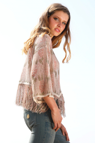 Fringed knit short cardigan