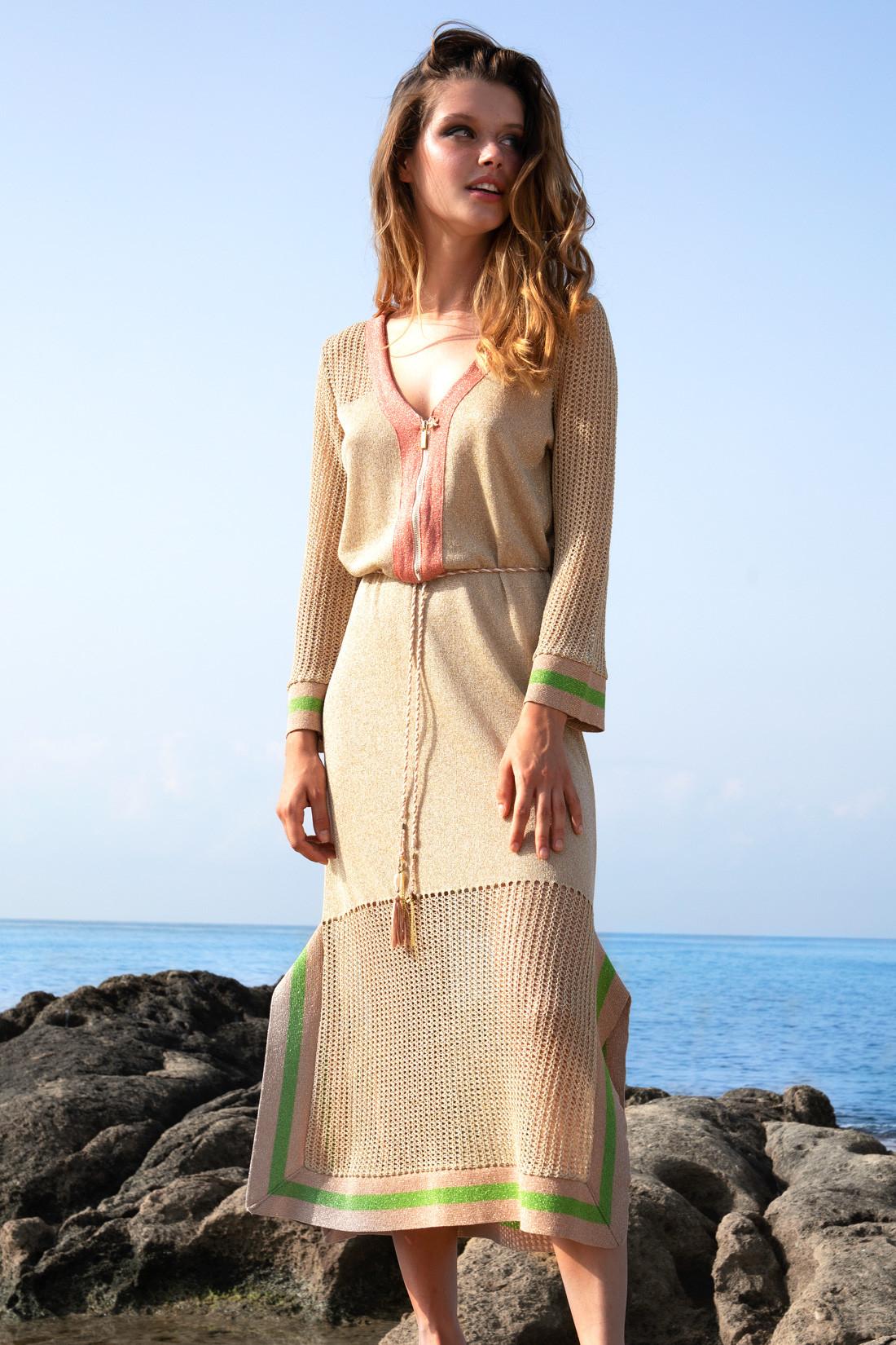 Knit long dress  with fishnet/Mesh