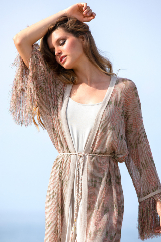 Fringed knit long cardigan