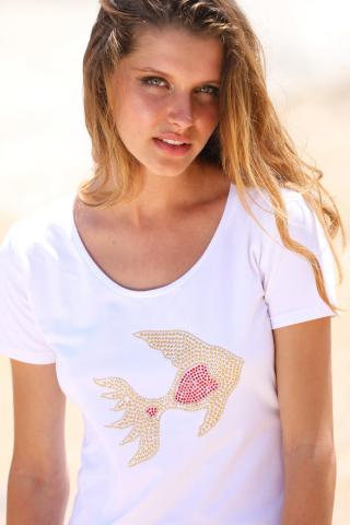 T-shirt con applicazione pesce