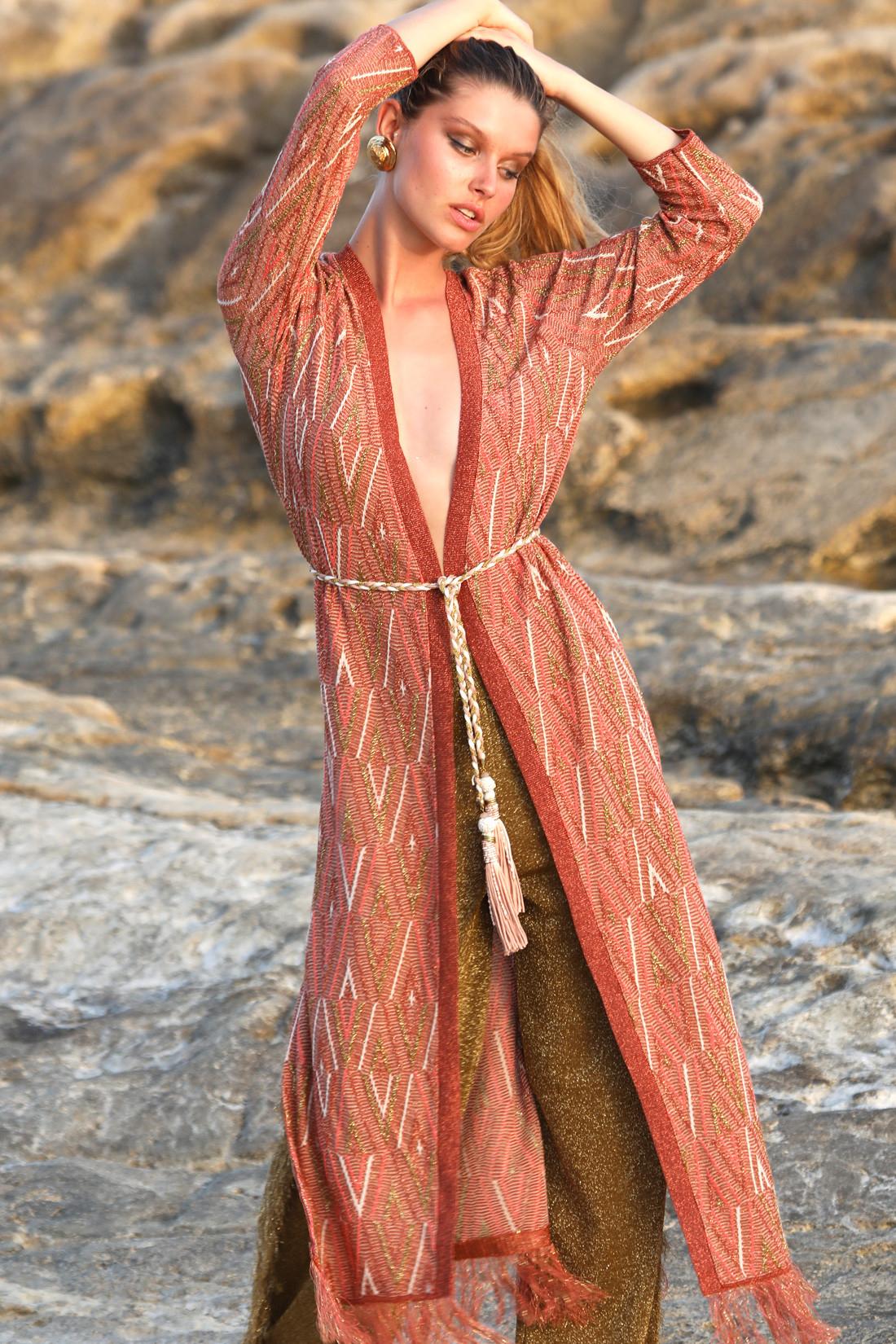 Cardigan longo in maglia frange