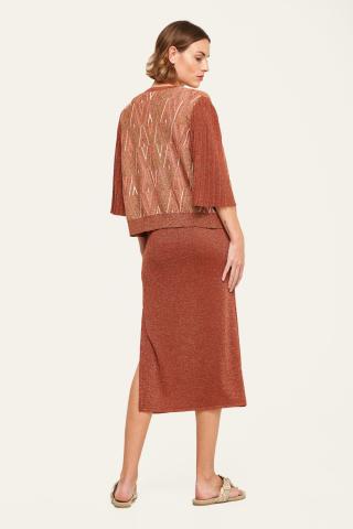 Pleated sleeve knit cardigan